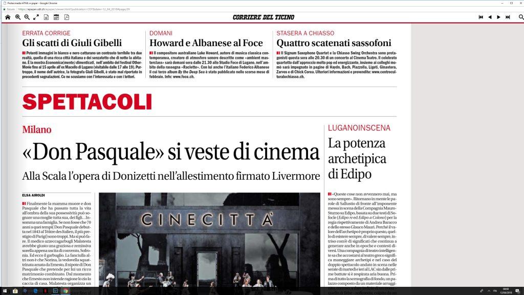 Corriere Del Ticino 12 Aprile 2018