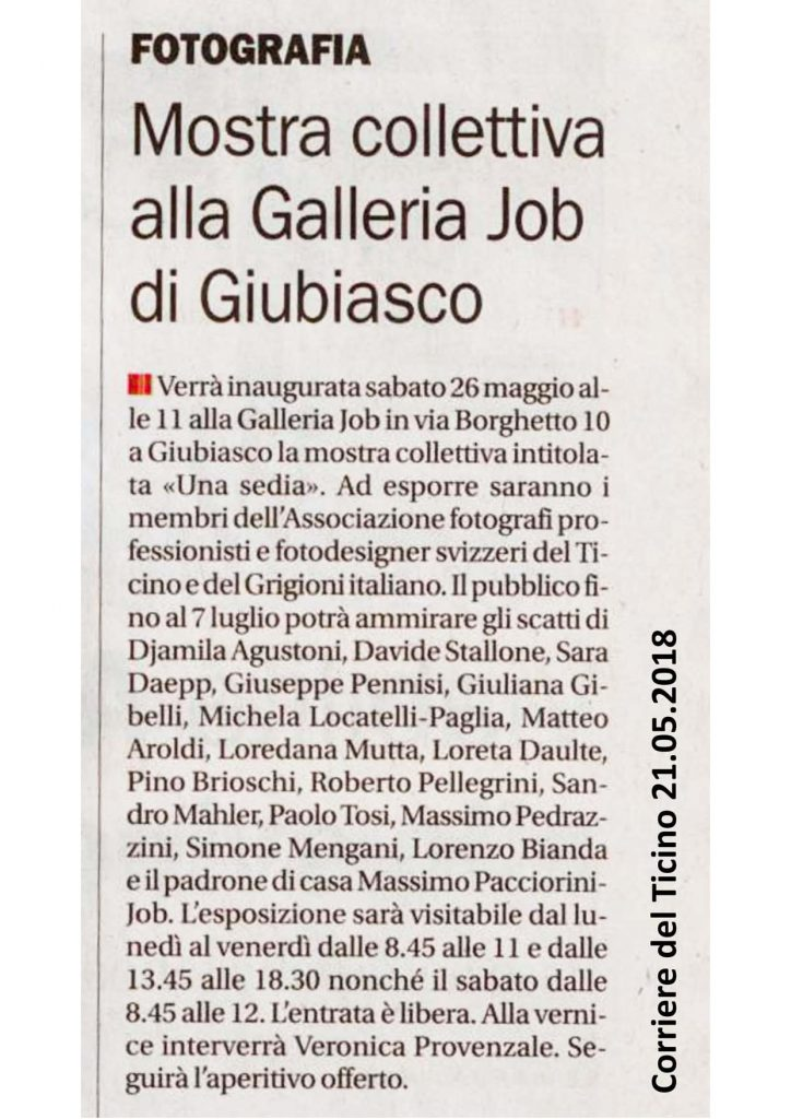 Articolo Corriere del Ticino 22/05/2018