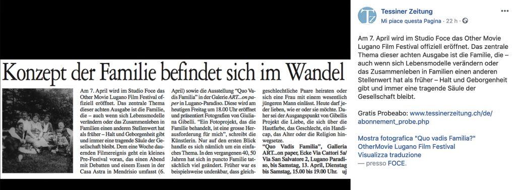 """Articolo Tessiner Zeitung Mostra fotografica """" Quo vadis familia """""""