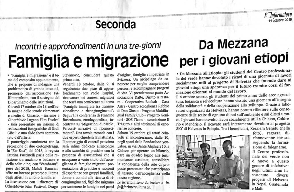 """Articolo de L'Informatore su Conferenza""""Famiglia e migrazione"""" 11/10/2019"""
